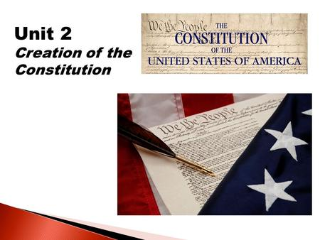Unit 2 Creation of the Constitution.  Why did the Framers create the Constitution?