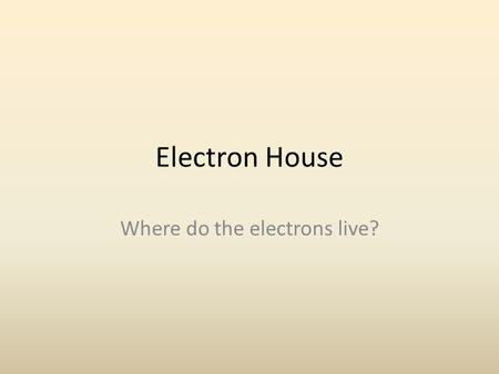 Electron House Where do the electrons live?. Energy Levels & Floors Recall that Bohr was the first scientist to describe electrons using specific energy.