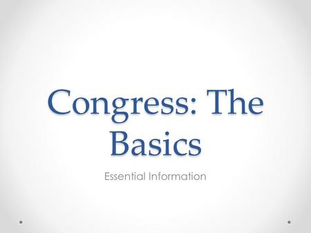 Congress: The Basics Essential Information. IV. Institutions of National Government: The Congress, the Presidency, the Bureaucracy, and the Federal Courts.