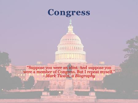 """Suppose you were an idiot. And suppose you were a member of Congress. But I repeat myself."" - Mark Twain, a Biography."