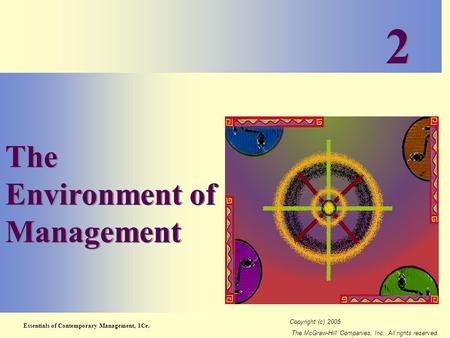 Essentials of Contemporary Management, 1Ce. Copyright (c) 2005 The McGraw-Hill Companies, Inc. All rights reserved. 2-1 The Environment of Management 2.