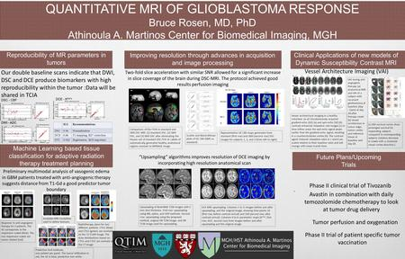 QUANTITATIVE MRI OF GLIOBLASTOMA RESPONSE Bruce Rosen, MD, PhD Athinoula A. Martinos Center for Biomedical Imaging, MGH. Future Plans/Upcoming Trials Reproducibility.