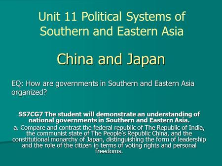 Unit 11 Political Systems of Southern and Eastern Asia