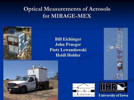Optical Measurements of Aerosols for MIRAGE-MEX University of Iowa Bill Eichinger John Prueger Piotr Lewandowski Heidi Holder.