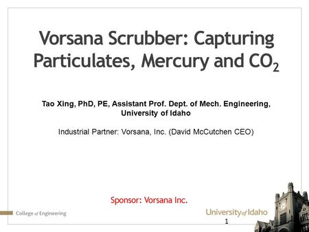 Vorsana Scrubber: Capturing Particulates, Mercury and CO2
