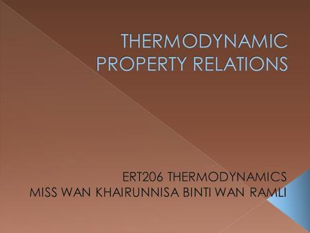 THERMODYNAMIC PROPERTY RELATIONS