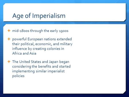 nation and imperialism essay American imperialism essaysthe united states became an imperialist nation at the end of the 19th century because americans wanted to expand over seas with their belief in manifest destiny.