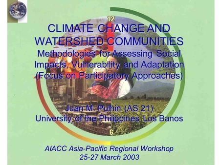 Outline of Presentation   Introduction   Overview of AS21   Social science methodologies for integrated climate change assessment   Challenges.