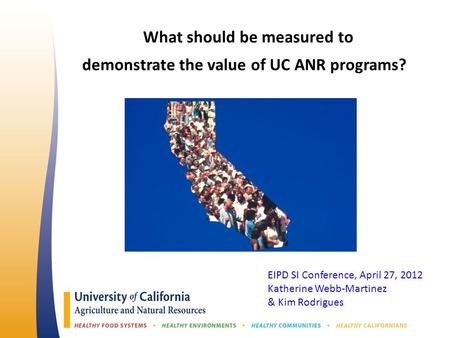 What should be measured to demonstrate the value of UC ANR programs? EIPD SI Conference, April 27, 2012 Katherine Webb-Martinez & Kim Rodrigues.