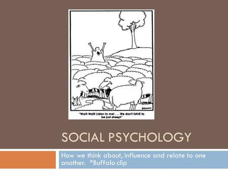 SOCIAL PSYCHOLOGY How we think about, influence and relate to one another. *Buffalo clip.