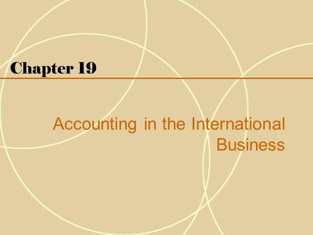 Accounting in the International Business