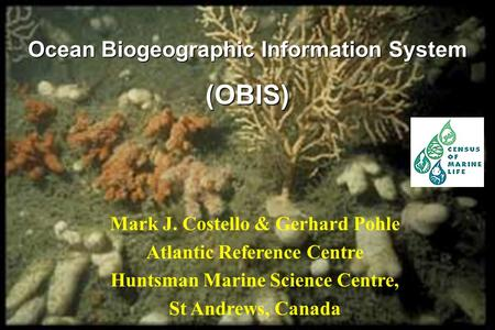 Mark J. Costello & Gerhard Pohle Atlantic Reference Centre Huntsman Marine Science Centre, St Andrews, Canada Ocean Biogeographic Information System (OBIS)