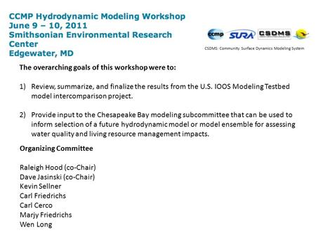 The overarching goals of this workshop were to: 1)Review, summarize, and finalize the results from the U.S. IOOS Modeling Testbed model intercomparison.