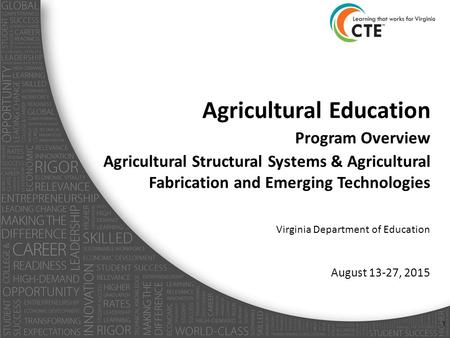 Agricultural Education Program Overview Agricultural Structural Systems & Agricultural Fabrication and Emerging Technologies Virginia Department of Education.