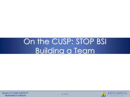 © 2009 On the CUSP: STOP BSI Building a Team. © 2009 Learning Objectives To understand the central importance of your ICU quality improvement team To.