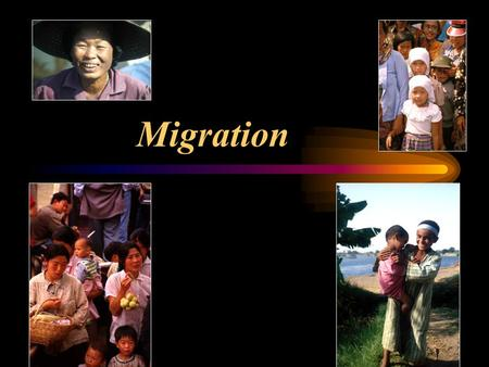 Migration. Migration Overview Migration Terms World Migration Distribution Factors Influencing Migration International Migration National Migration Migration.