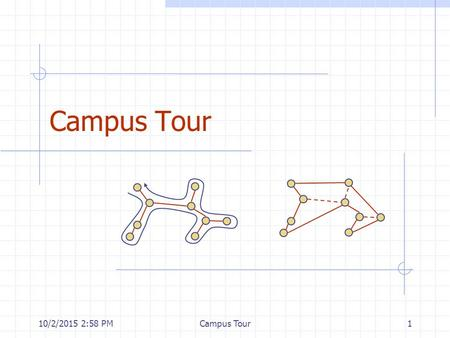 10/2/2015 3:00 PMCampus Tour1. 10/2/2015 3:00 PMCampus Tour2 Outline and Reading Overview of the assignment Review Adjacency matrix structure (§12.2.3)