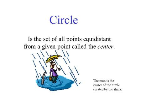 Circle Is the set of all points equidistant from a given point called the center. The man is the center of the circle created by the shark.
