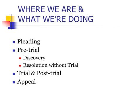 WHERE WE ARE & WHAT WE'RE DOING Pleading Pre-trial Discovery Resolution without Trial Trial & Post-trial Appeal.