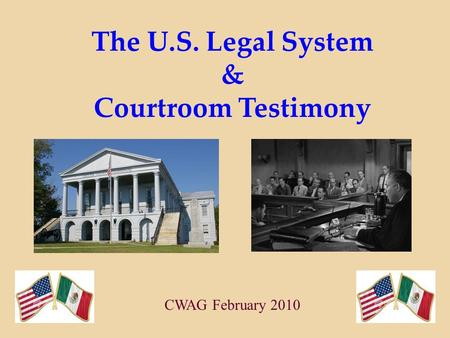 The U.S. Legal System & Courtroom Testimony CWAG February 2010.