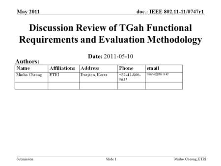 Doc.: IEEE 802.11-11/0747r1 Submission May 2011 Minho Cheong, ETRISlide 1 Discussion Review of TGah Functional Requirements and Evaluation Methodology.