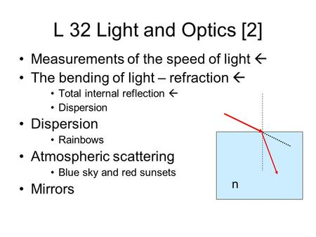 L 32 Light and Optics [2] Measurements of the speed of light  The bending of light – refraction  Total internal reflection  Dispersion Rainbows Atmospheric.