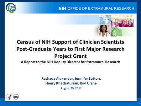1 Census of NIH Support of Clinician Scientists Post-Graduate Years to First Major Research Project Grant A Report to the NIH Deputy Director for Extramural.
