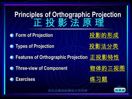 Form of Projection 投影的形成 投影的形成 Types of Projection 投影法分类 投影法分类 Features of Orthographic Projection 正投影特性 正投影特性 Three-view of Component 物体的三视图 物体的三视图 Exercises.