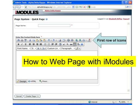 How to Web Page with iModules First row of icons.