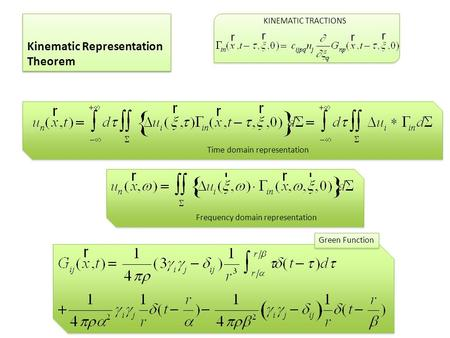 Kinematic Representation Theorem KINEMATIC TRACTIONS Time domain representation Frequency domain representation Green Function.