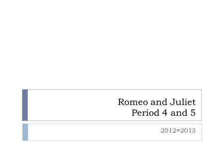 Romeo and Juliet Period 4 and 5 2012=2013. 2/20 Period 4  Homework:  Complete the Elizabethan Times ECR and web quest packet if not done in class. 