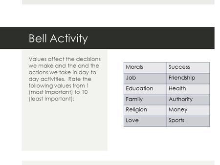 Bell Activity MoralsSuccess JobFriendship EducationHealth FamilyAuthority ReligionMoney LoveSports Values affect the decisions we make and the and the.