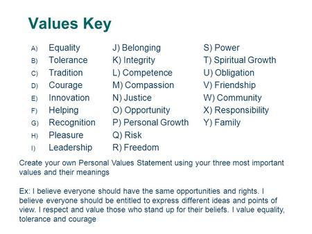 Values Key A) Equality B) Tolerance C) Tradition D) Courage E) Innovation F) Helping G) Recognition H) Pleasure I) Leadership J) Belonging K) Integrity.