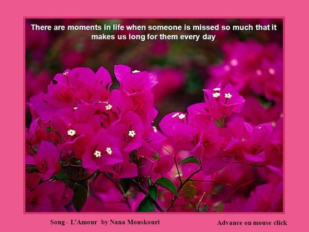 There are moments in life when someone is missed so much that it makes us long for them every day Advance on mouse click Song - L'Amour by Nana Mouskouri.