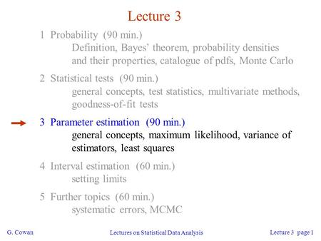 G. Cowan Lectures on Statistical Data Analysis Lecture 3 page 1 Lecture 3 1 Probability (90 min.) Definition, Bayes' theorem, probability densities and.