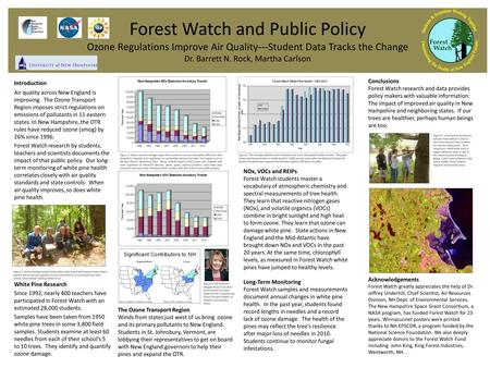 Forest Watch and Public Policy Ozone Regulations Improve Air Quality---Student Data Tracks the Change Dr. Barrett N. Rock, Martha Carlson Introduction.