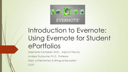Introduction to Evernote: Using Evernote for Student ePortfolios