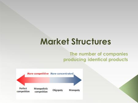 Market Structures The number of companies producing identical products.