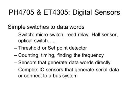 PH4705 & ET4305: Digital Sensors