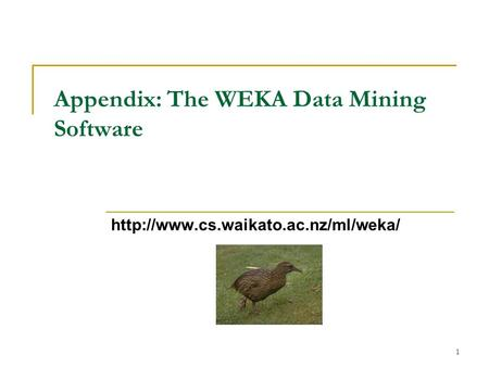 1 Appendix: The WEKA Data Mining Software