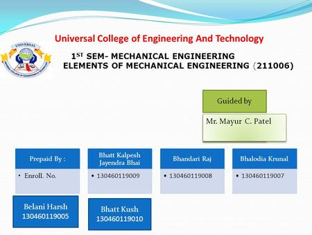 Universal College of Engineering And Technology Prepaid By : Enroll. No. Bhatt Kalpesh Jayendra Bhai 130460119009 Bhandari Raj 130460119008 Bhalodia Krunal.