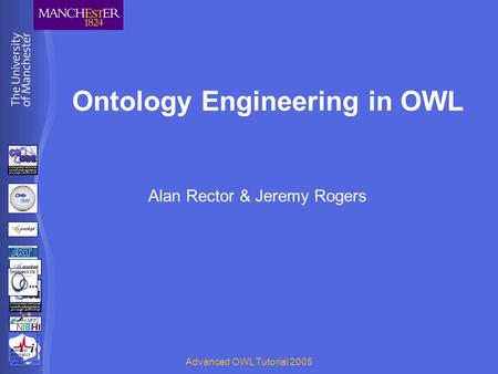 BioHealth Informatics Group Advanced OWL Tutorial 2005 Ontology Engineering in OWL Alan Rector & Jeremy Rogers BioHealth Informatics Group.