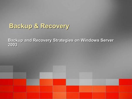Backup & Recovery Backup and Recovery Strategies on Windows Server 2003.