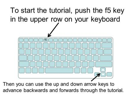 To start the tutorial, push the f5 key in the upper row on your keyboard f5 Then you can use the up and down arrow keys to advance backwards and forwards.