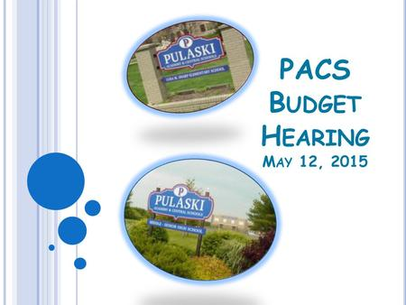 PACS B UDGET H EARING M AY 12, 2015. PULASKI ACADEMY & CENTRAL SCHOOL FOUNDATION AID HISTORY, 2008-09 THROUGH 2014-15 Enacted State Budget/ School Year.
