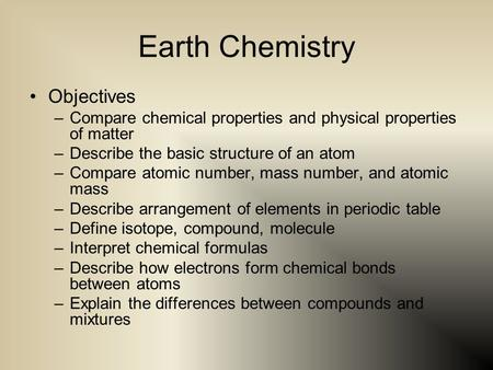 Earth Chemistry Objectives