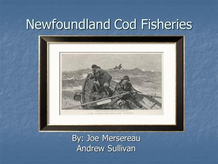 Newfoundland Cod Fisheries By: Joe Mersereau Andrew Sullivan.