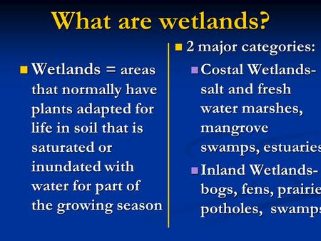 What are wetlands? Wetlands = areas that normally have plants adapted for life in soil that is saturated or inundated with water for part of the growing.