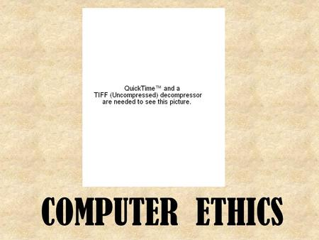 COMPUTER ETHICS. What is Computer Ethics? Ethics is a set of moral principles that govern the behavior of a group or individual. computer ethics is set.