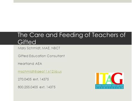 The Care and Feeding of Teachers of Gifted Mary Schmidt, MAE, NBCT Gifted Education Consultant Heartland AEA 270.0405 ext. 14375.